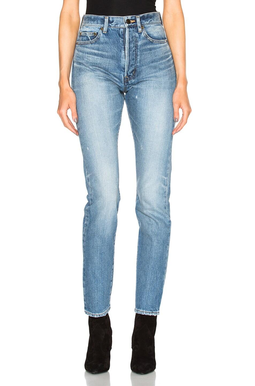 Image 1 of Saint Laurent 90s Pocket Jeans in Medium Blue