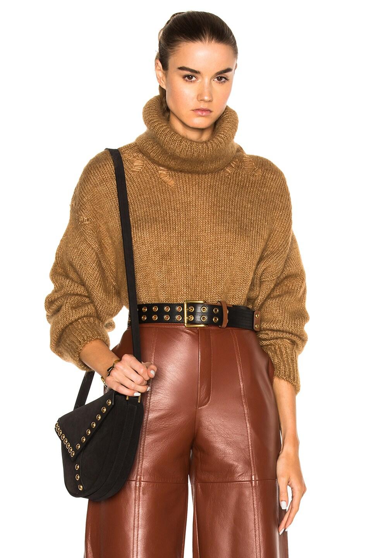 Image 1 of Saint Laurent Oversize Mohair Turtleneck Sweater in Camel