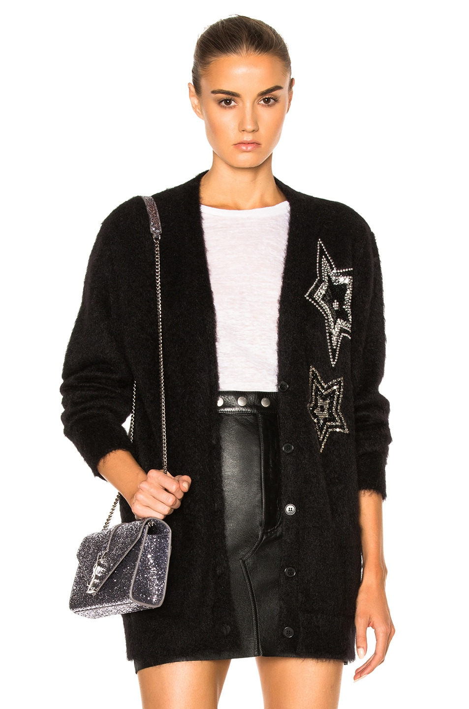 1d104fe77ee Image 1 of Saint Laurent Star Mohair Cardigan in Black and Crystal
