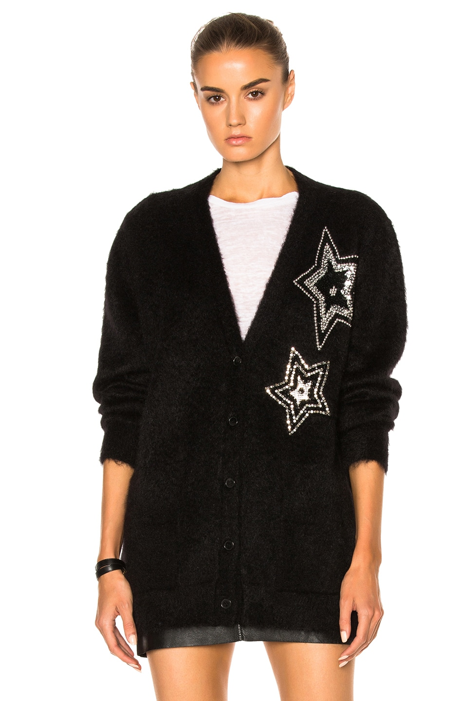 127880f24db Image 2 of Saint Laurent Star Mohair Cardigan in Black and Crystal