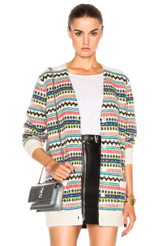 Image 1 of Saint Laurent Oversized Cardigan in Natural & Multi Color