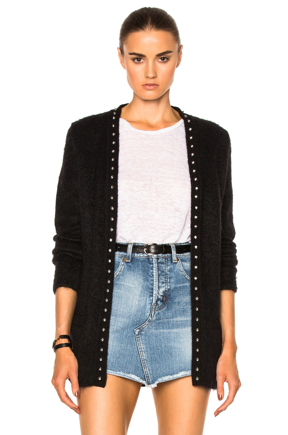Image 1 of Saint Laurent Oversize Cardigan with Star Liner in Black