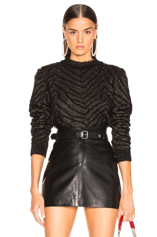 Image 1 of Saint Laurent Zebra Print Lurex Mohair Sweater in Black & Gold