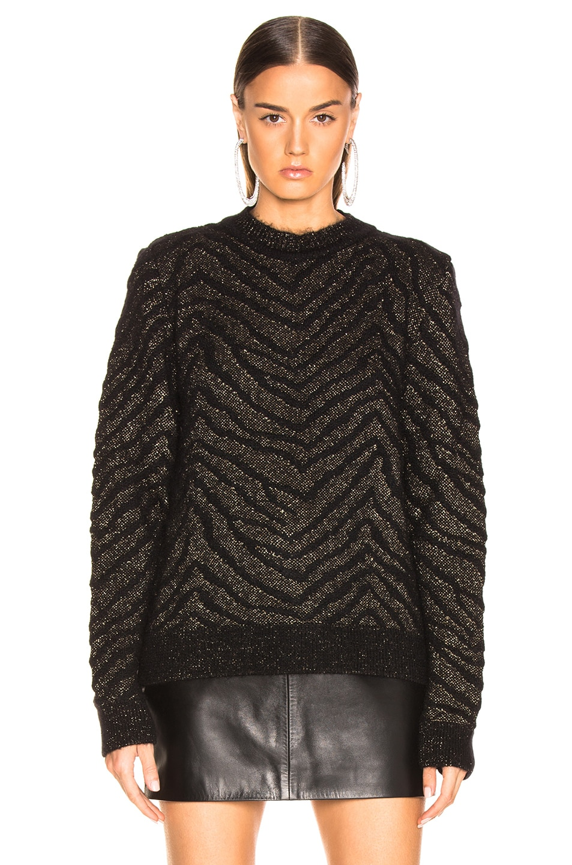 Image 2 of Saint Laurent Zebra Print Lurex Mohair Sweater in Black & Gold