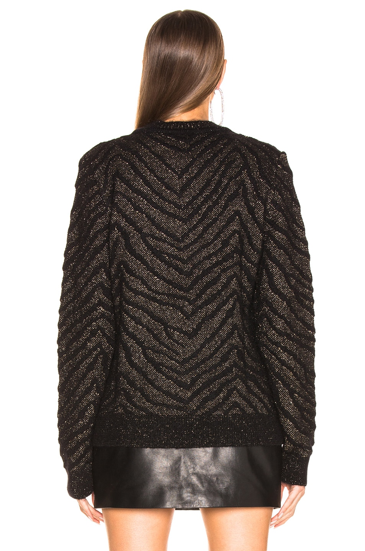 Image 4 of Saint Laurent Zebra Print Lurex Mohair Sweater in Black & Gold