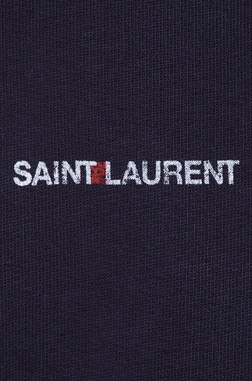 Image 6 of Saint Laurent Small Logo Faded Hoodie in Violet & Ecru