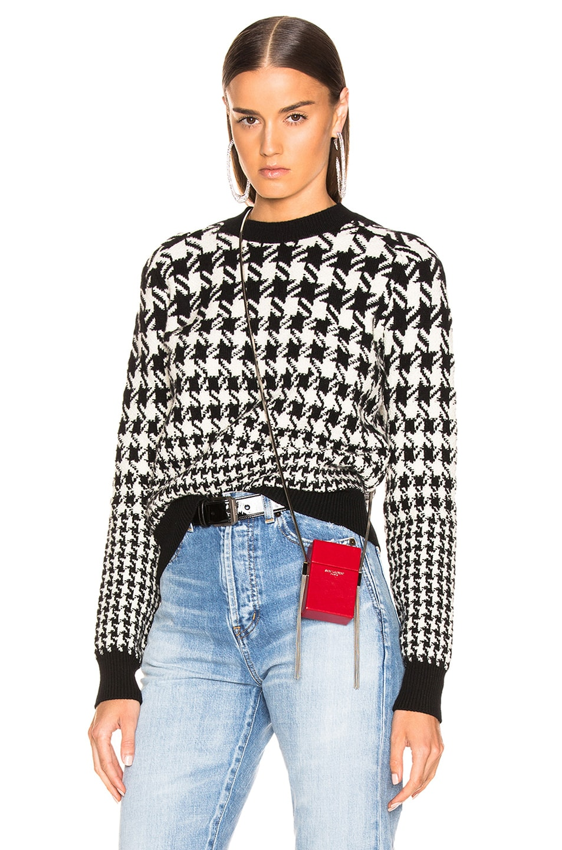 Saint Laurent Mixed Houndstooth Jacquard Sweater Black & Natural good