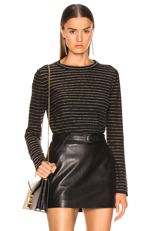 Image 1 of Saint Laurent Crew Neck Sweater in Black & Gold