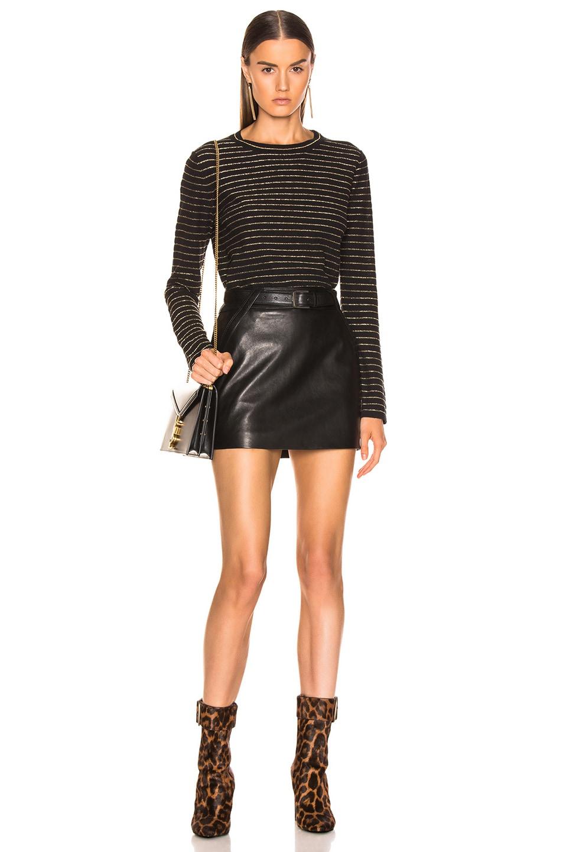Image 4 of Saint Laurent Crew Neck Sweater in Black & Gold