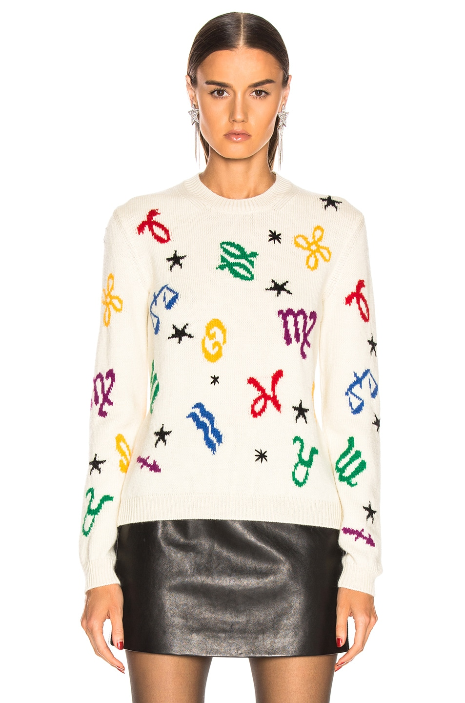 Image 2 of Saint Laurent Zodiac Sweater in Natural & Multicolor
