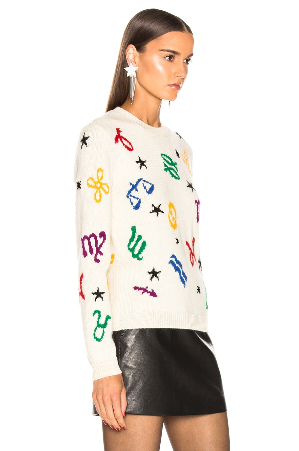 Image 3 of Saint Laurent Zodiac Sweater in Natural & Multicolor