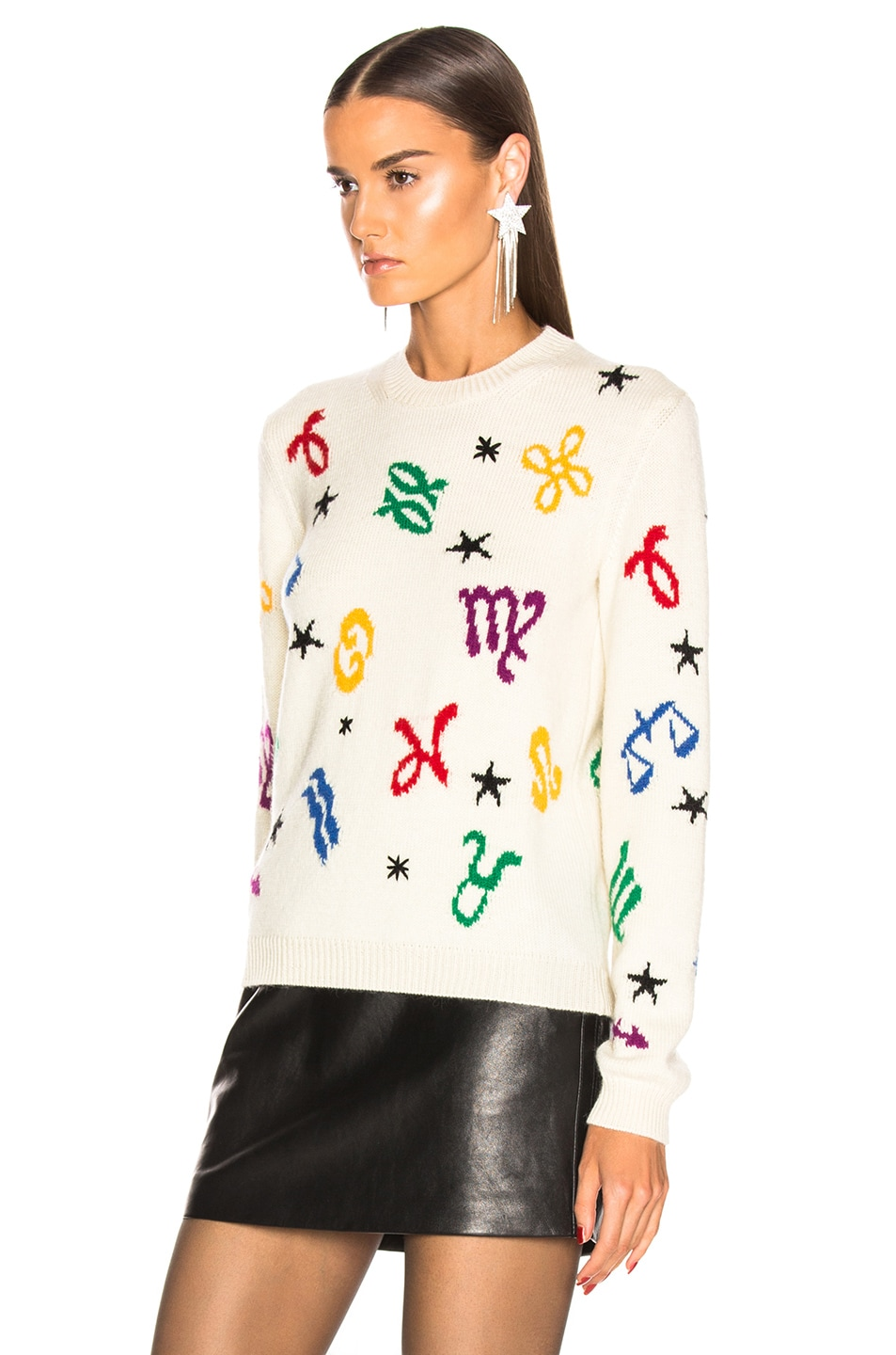 Image 4 of Saint Laurent Zodiac Sweater in Natural & Multicolor