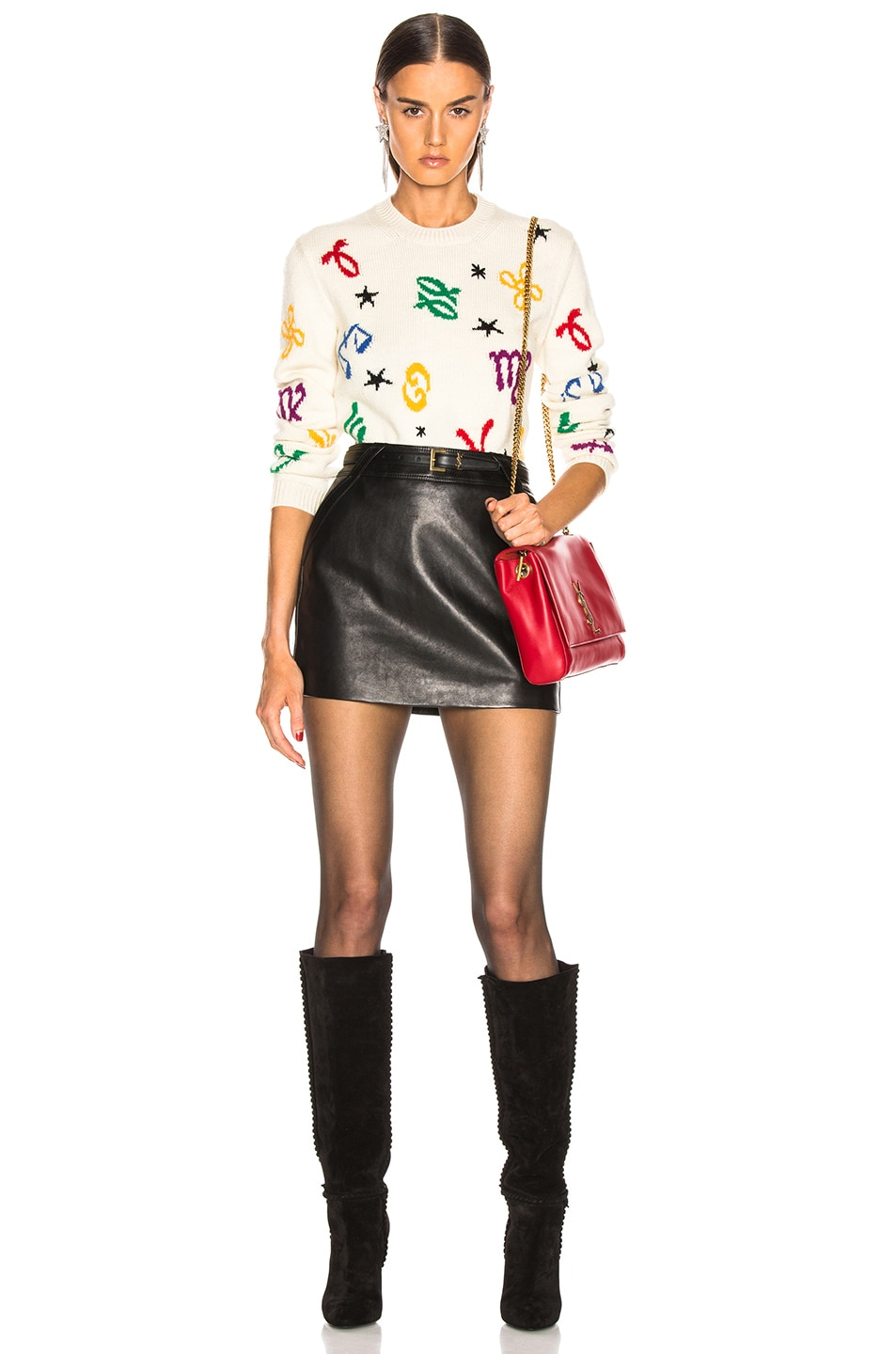 Image 6 of Saint Laurent Zodiac Sweater in Natural & Multicolor