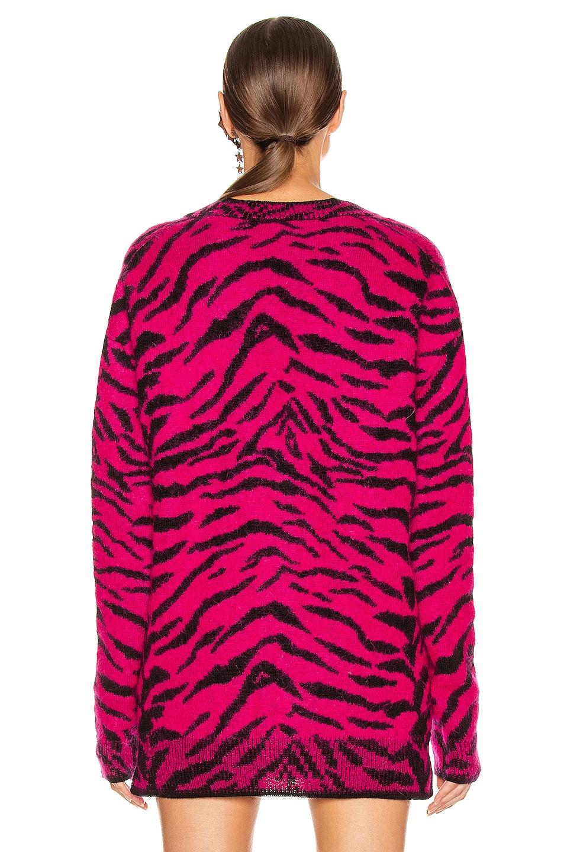 Image 3 of Saint Laurent Zebra Cardigan in Fuchsia & Black