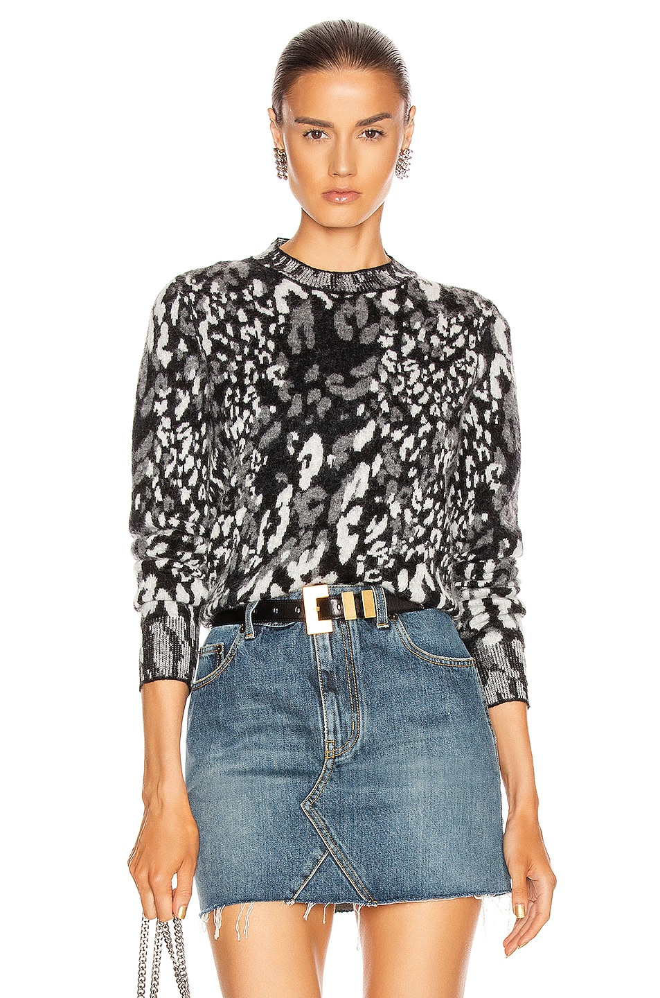 Image 1 of Saint Laurent Leopard Sweater in Black & Natural