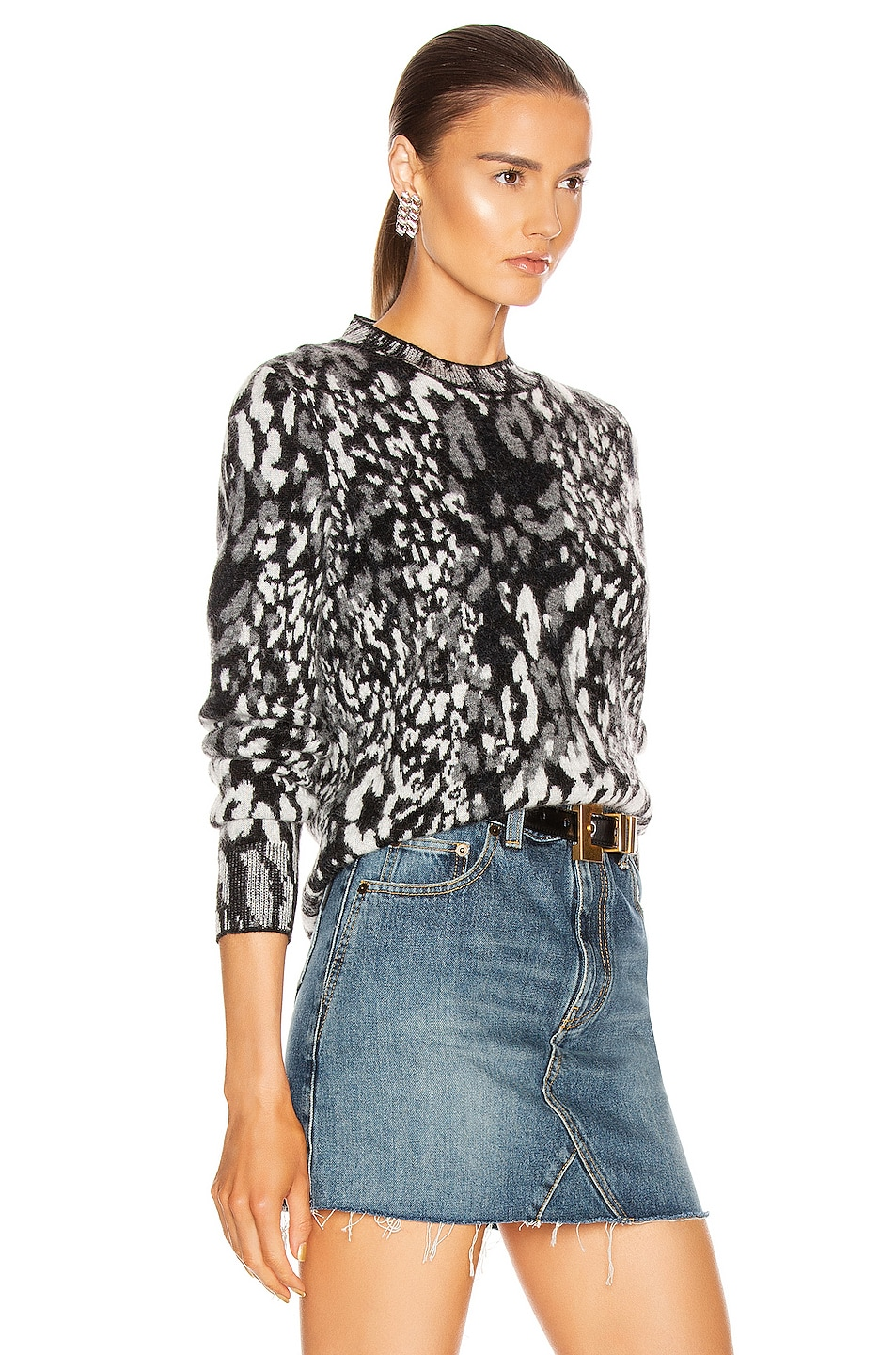 Image 2 of Saint Laurent Leopard Sweater in Black & Natural