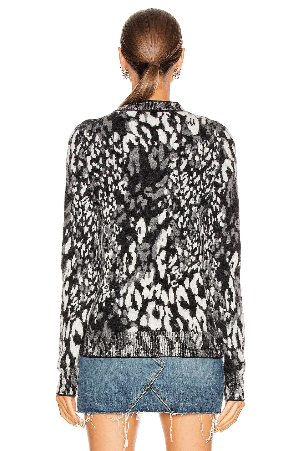 Image 3 of Saint Laurent Leopard Sweater in Black & Natural