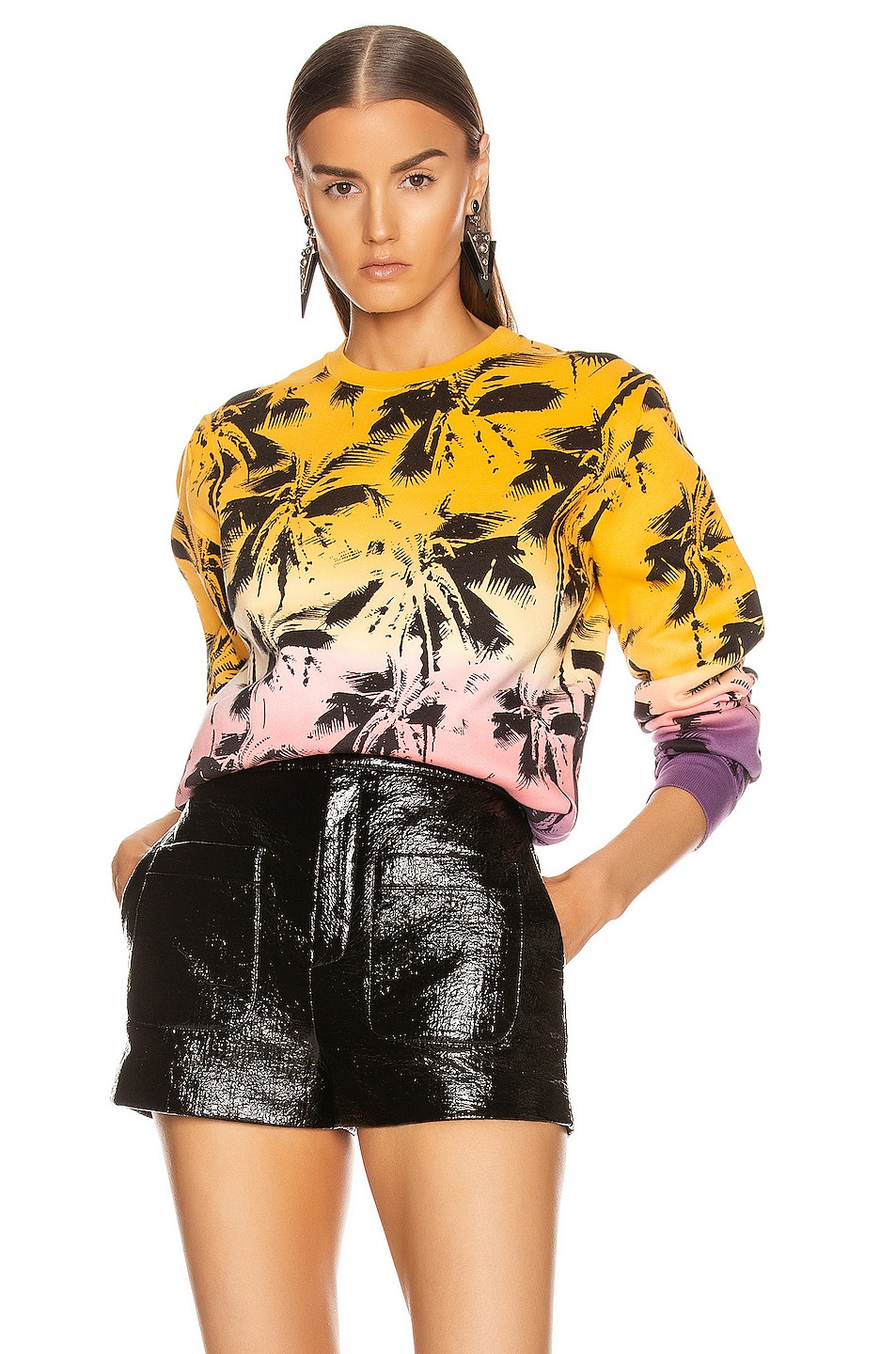Image 1 of Saint Laurent Deep Dye Palms Sweater in Yellow & Rose & Violet