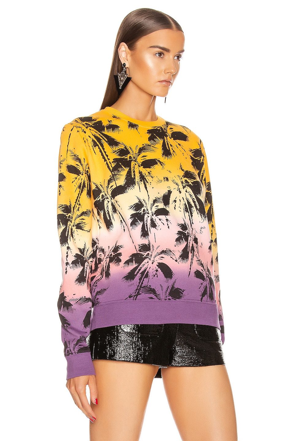 Image 2 of Saint Laurent Deep Dye Palms Sweater in Yellow & Rose & Violet