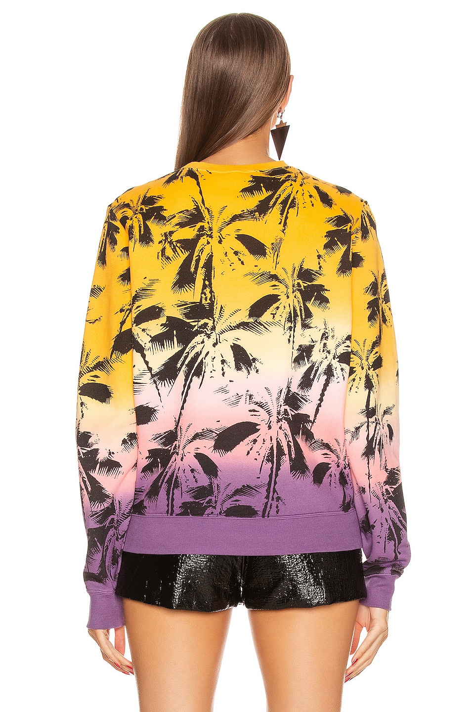 Image 3 of Saint Laurent Deep Dye Palms Sweater in Yellow & Rose & Violet