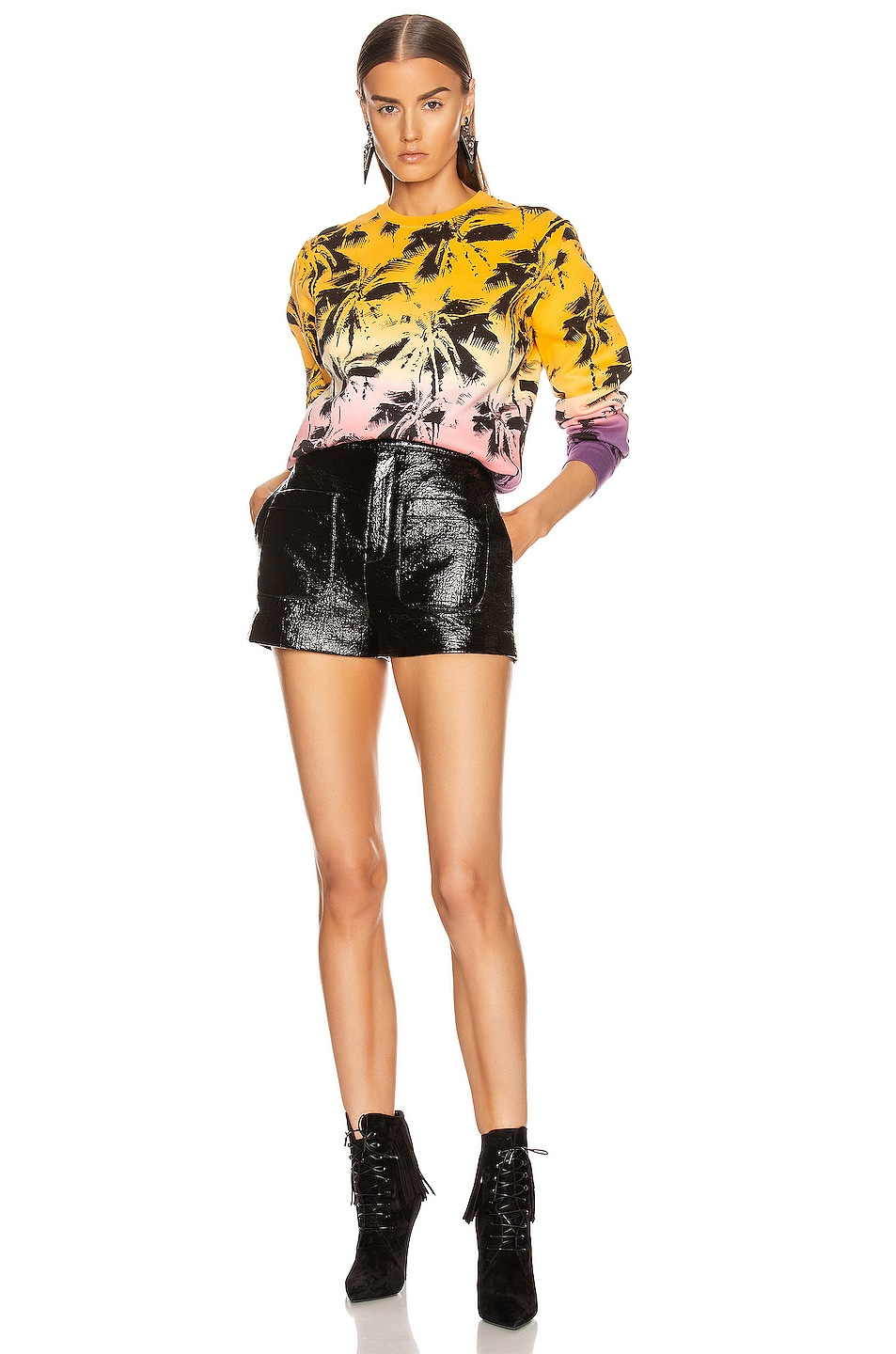 Image 4 of Saint Laurent Deep Dye Palms Sweater in Yellow & Rose & Violet