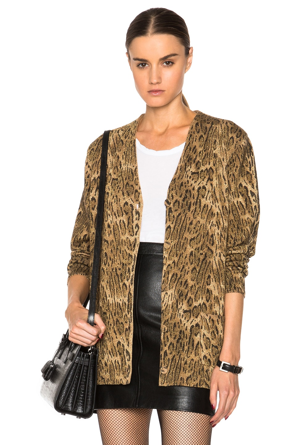 Saint Laurent Ocelot Print Cardigan in Camel & Black | FWRD