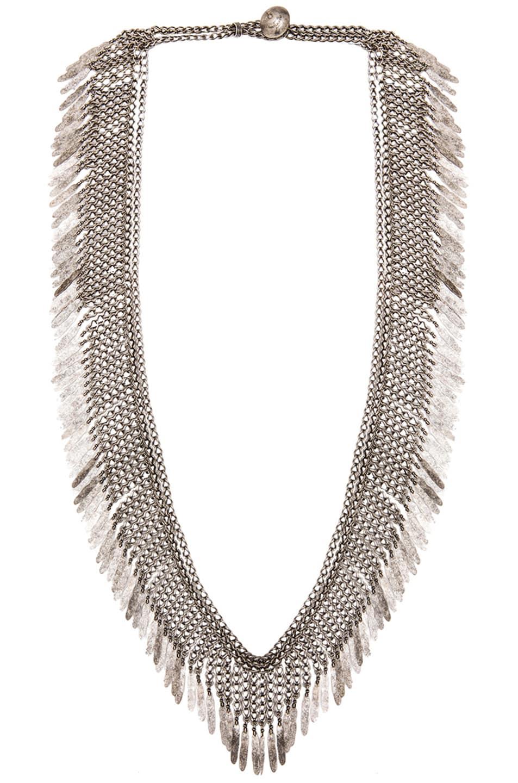 Image 1 of Saint Laurent Plumes Necklace in Vieil Argent