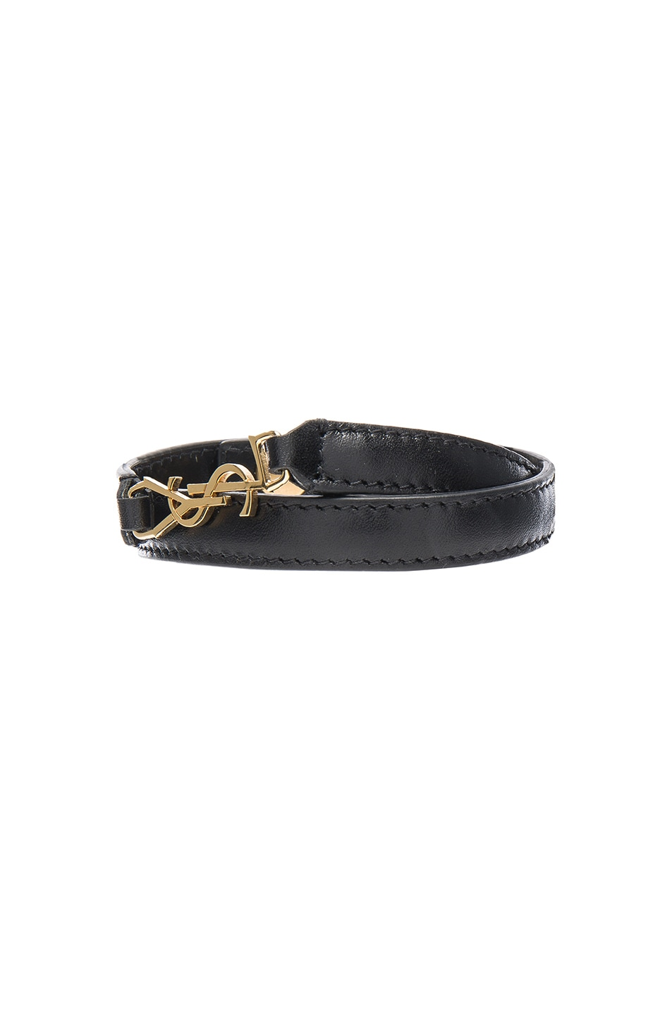 Image 1 of Saint Laurent Classique Double Wrap Bracelet in Black