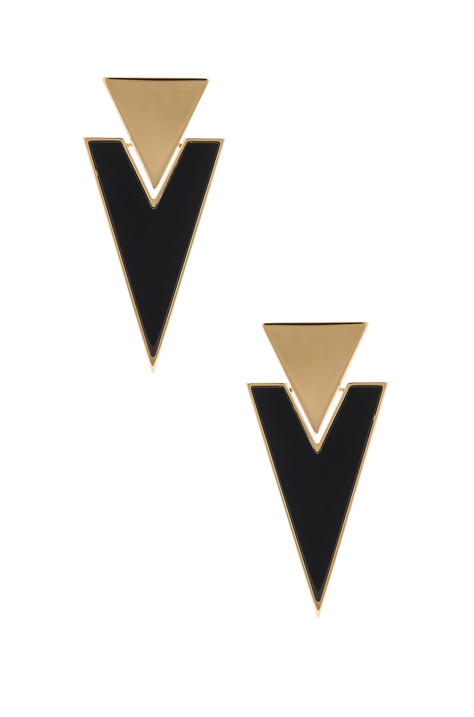 Image 1 of Saint Laurent Deco Triangle Clip Earrings in Gold & Black