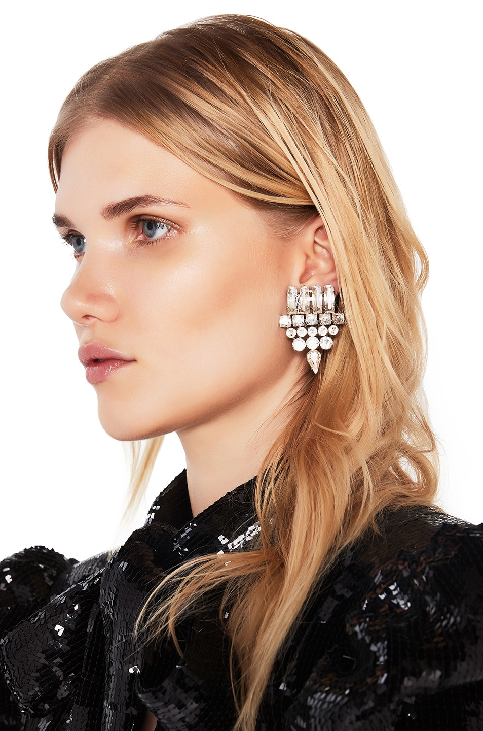 Image 1 of Saint Laurent Smoking Earrings in Crystal & Palladium