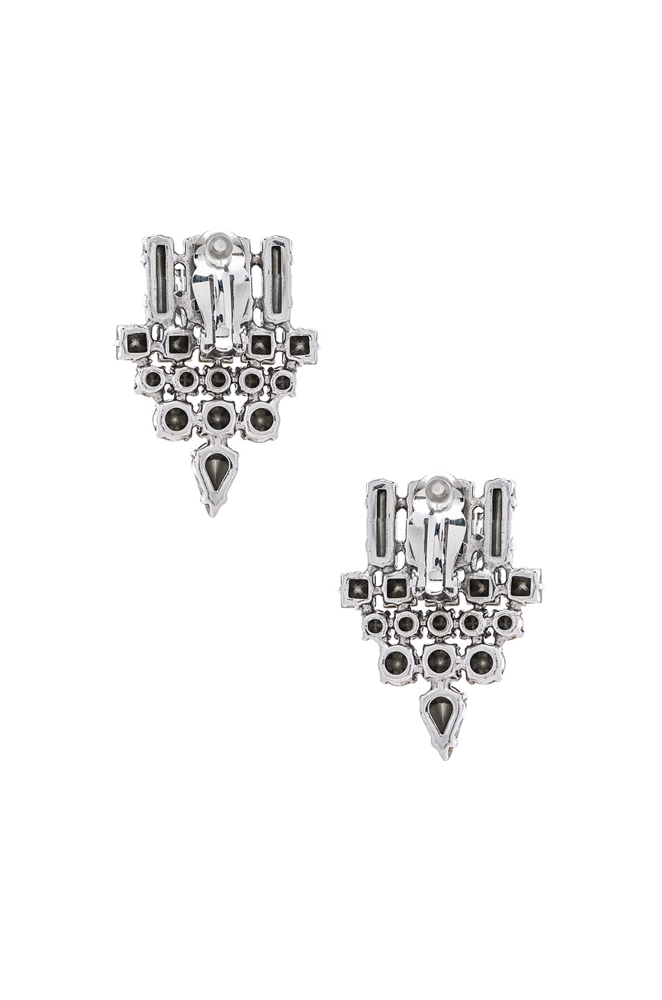Image 3 of Saint Laurent Smoking Earrings in Crystal & Palladium
