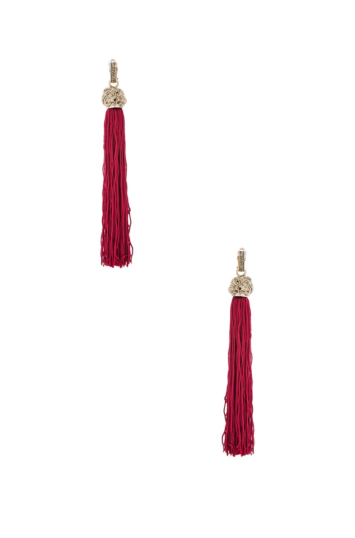 Image 1 of Saint Laurent Tassel Earrings in Rouge & Dore