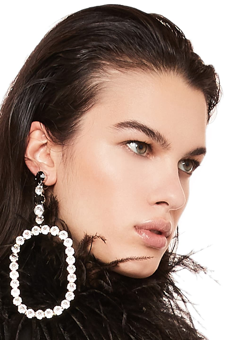 Image 1 of Saint Laurent Rectangle Earrings in Palladium, Crystal & Black