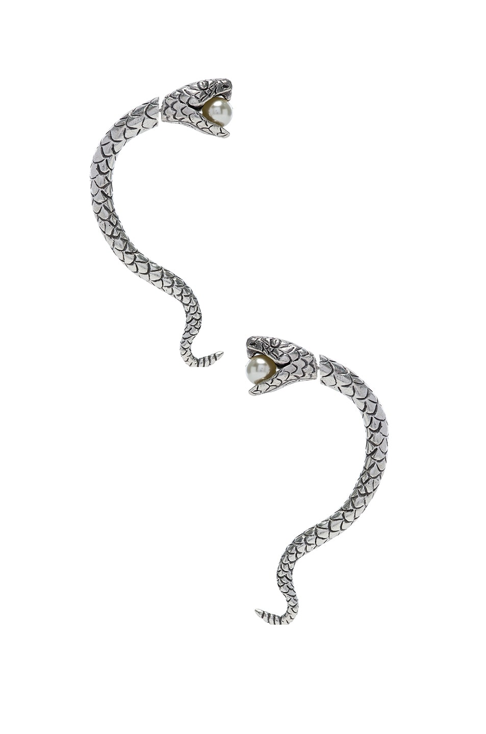 Image 1 of Saint Laurent Pearl Snake Earrings in Oxidized Silver & Cream