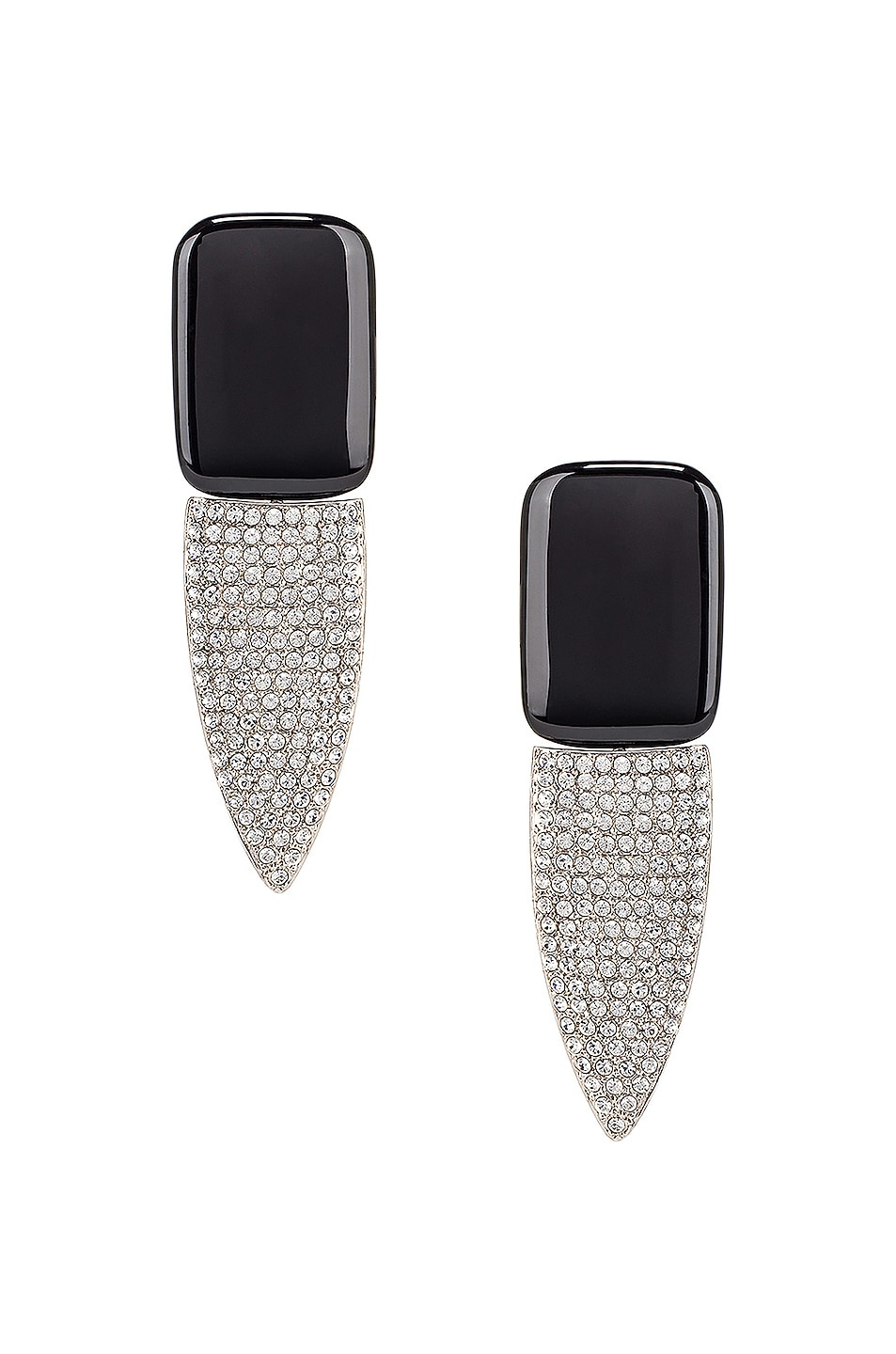 Image 1 of Saint Laurent Crystal Embellished Earrings in Palladium, Black & Crystal