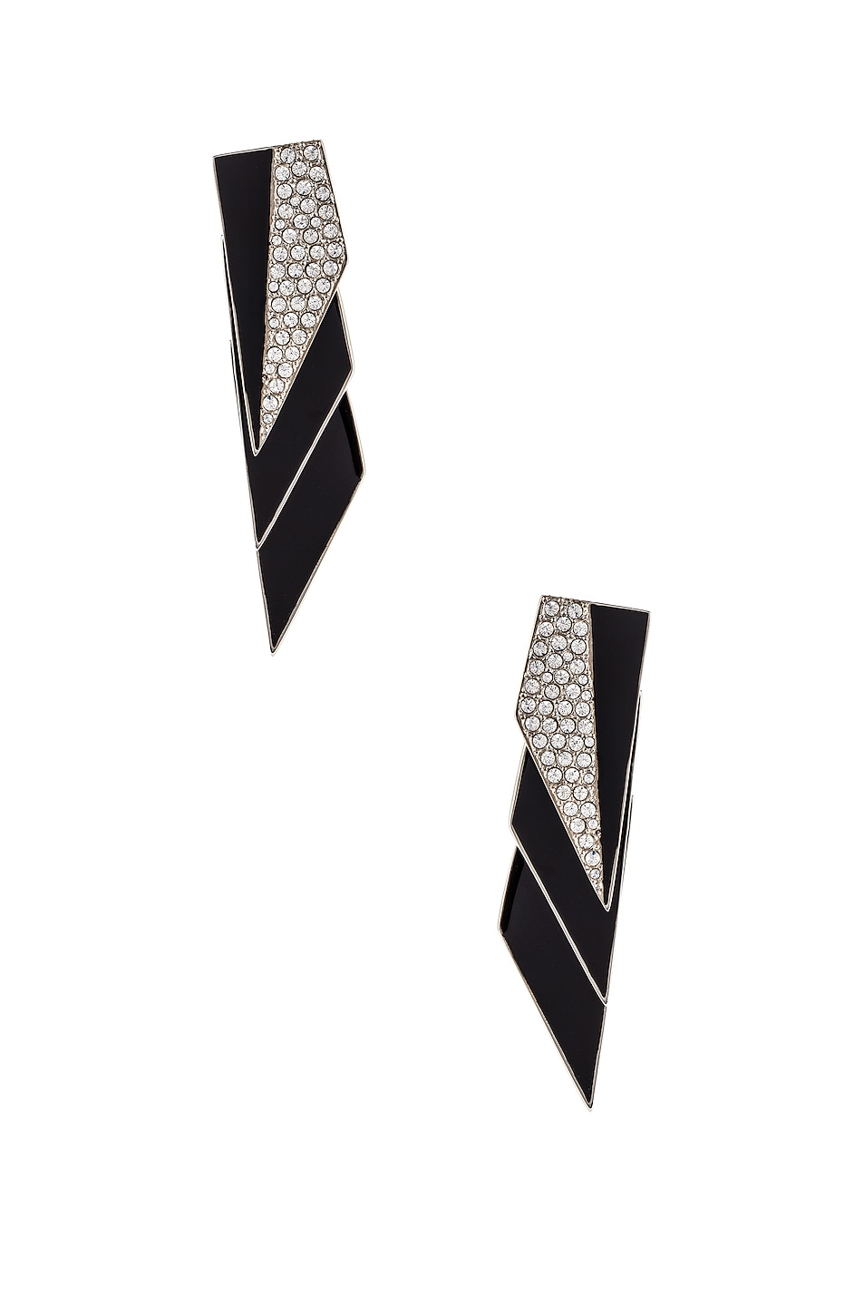 Image 1 of Saint Laurent Layered Art Deco Earrings in Palladium, Black & Crystal