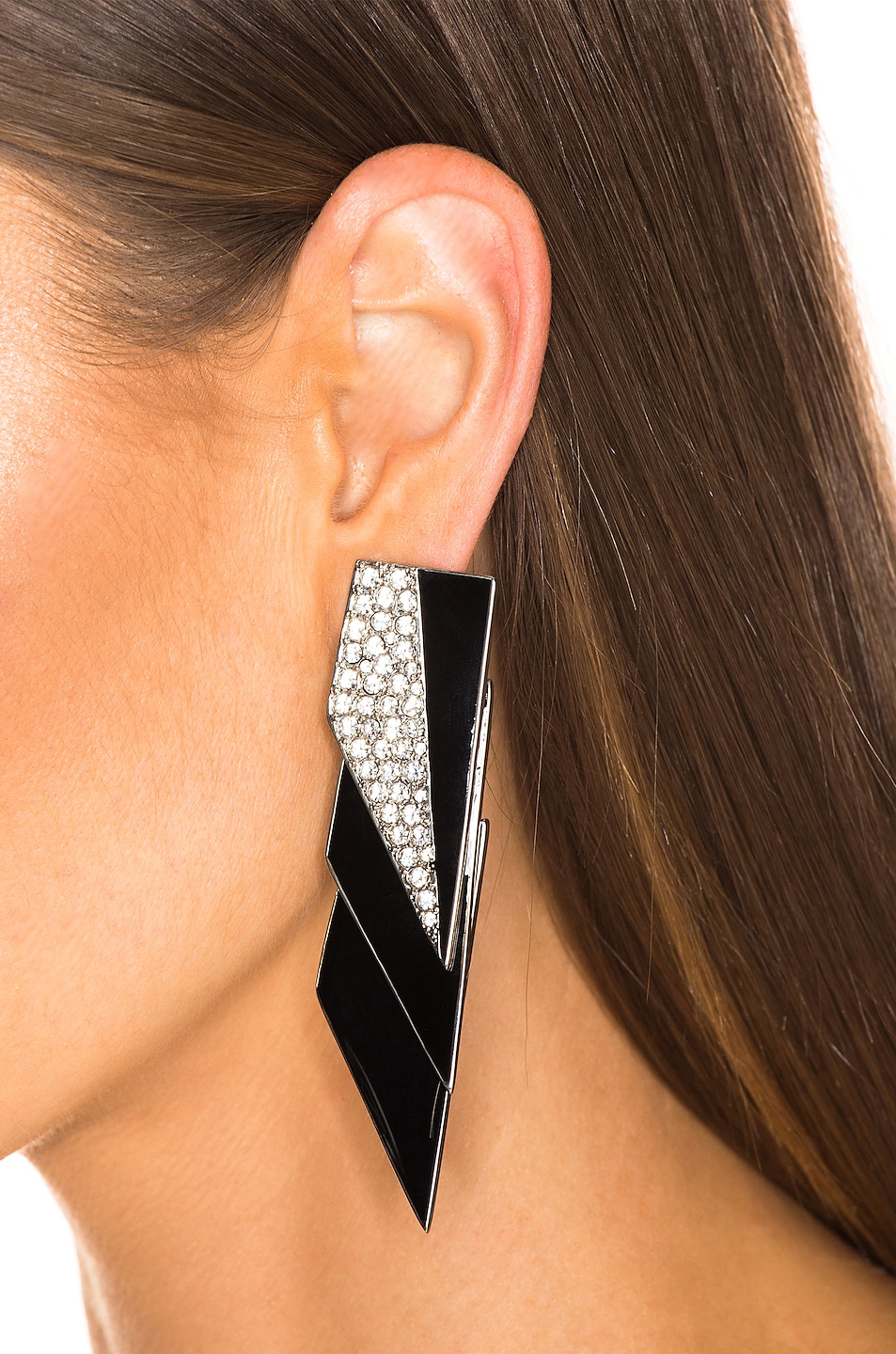 Image 2 of Saint Laurent Layered Art Deco Earrings in Palladium, Black & Crystal