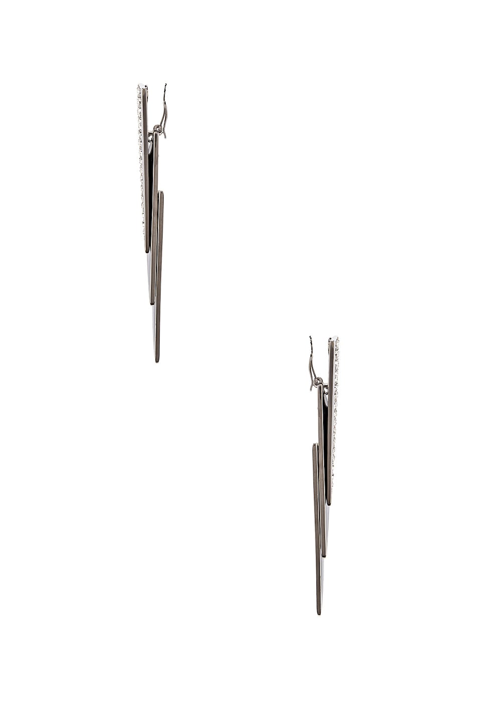 Image 3 of Saint Laurent Layered Art Deco Earrings in Palladium, Black & Crystal