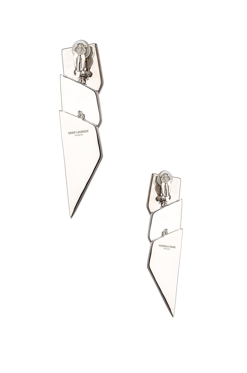Image 4 of Saint Laurent Layered Art Deco Earrings in Palladium, Black & Crystal