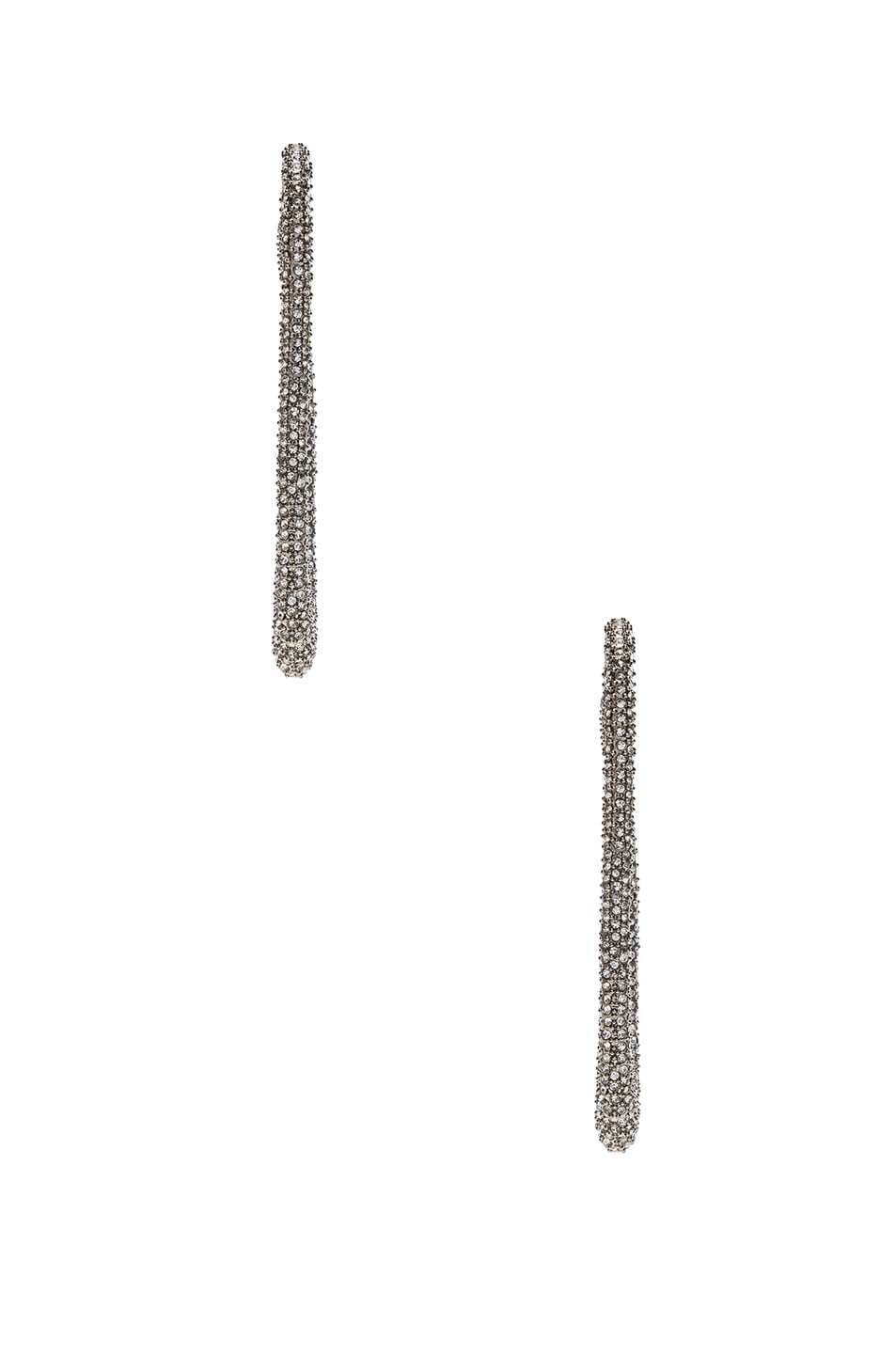 Image 2 of Saint Laurent Embellished Hook Earrings in Palladium & Crystal
