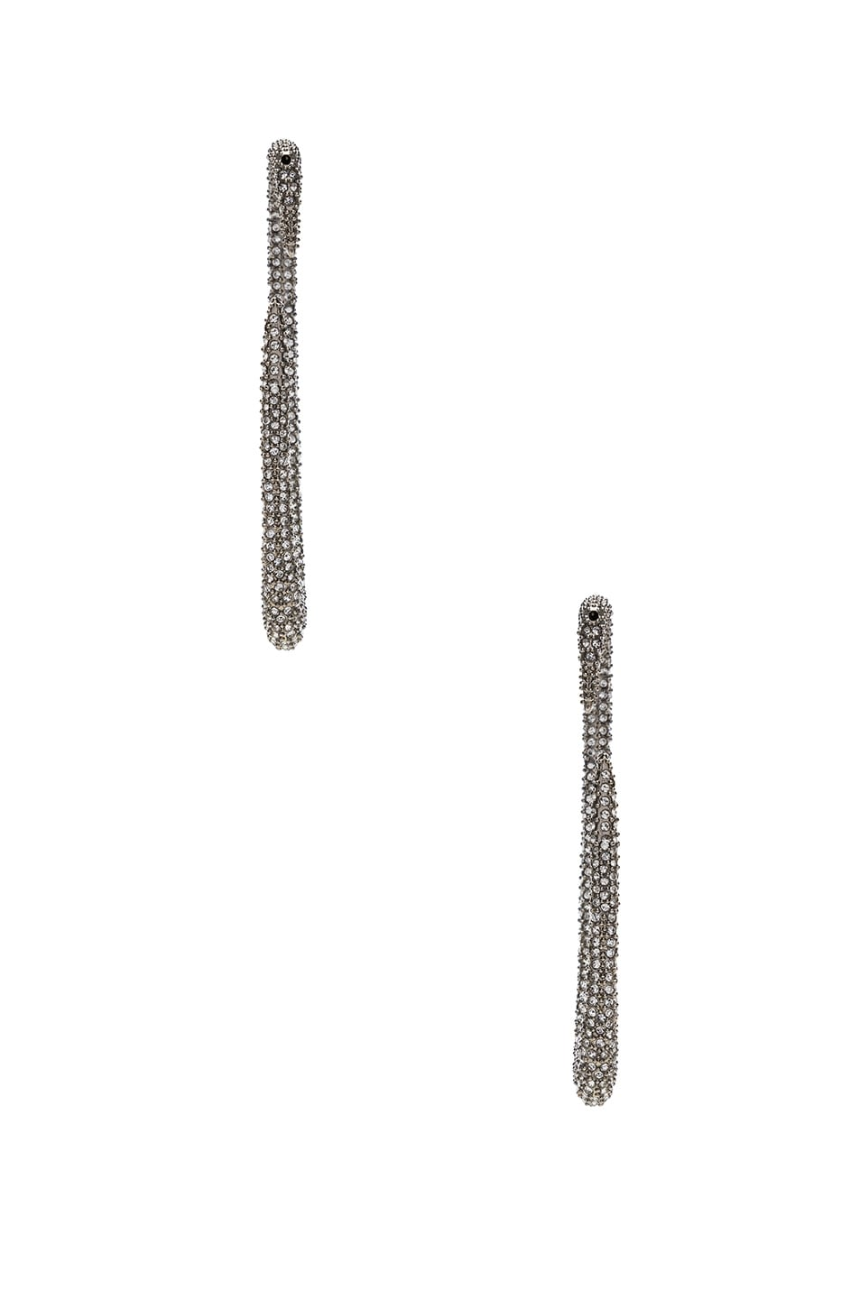 Image 3 of Saint Laurent Embellished Hook Earrings in Palladium & Crystal