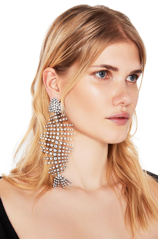 Image 2 of Saint Laurent Fish Bone Statement Earrings in Palladium & Crystal