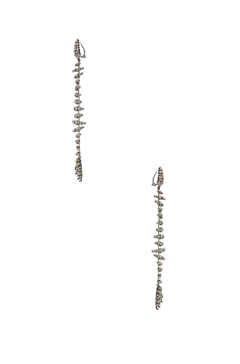 Image 3 of Saint Laurent Fish Bone Statement Earrings in Palladium & Crystal