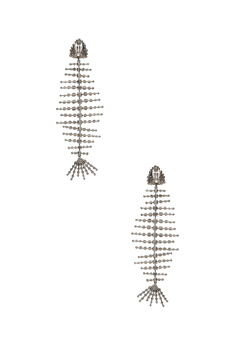 Image 4 of Saint Laurent Fish Bone Statement Earrings in Palladium & Crystal