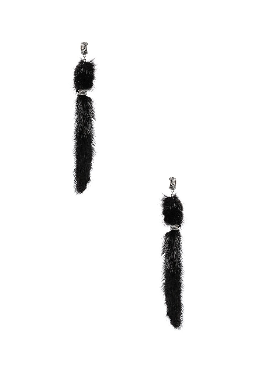 Image 1 of Saint Laurent Tassel Earrings in Oxidized Silver & Black