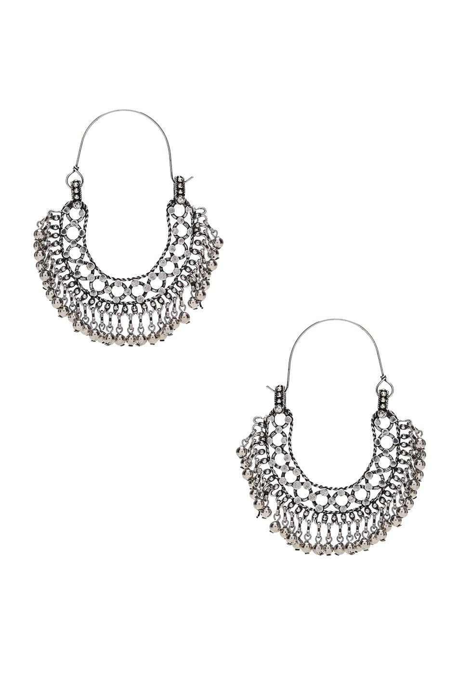 Image 1 of Saint Laurent Beaded Hoop Earrings in Oxidized Silver