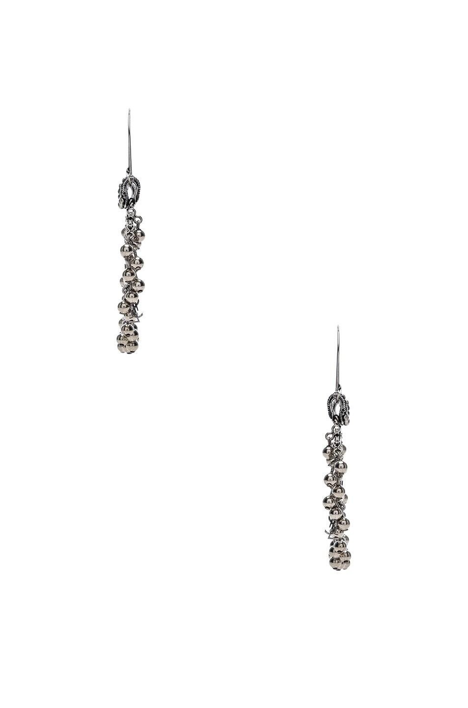 Image 2 of Saint Laurent Beaded Hoop Earrings in Oxidized Silver