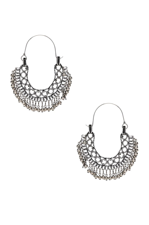 Image 3 of Saint Laurent Beaded Hoop Earrings in Oxidized Silver