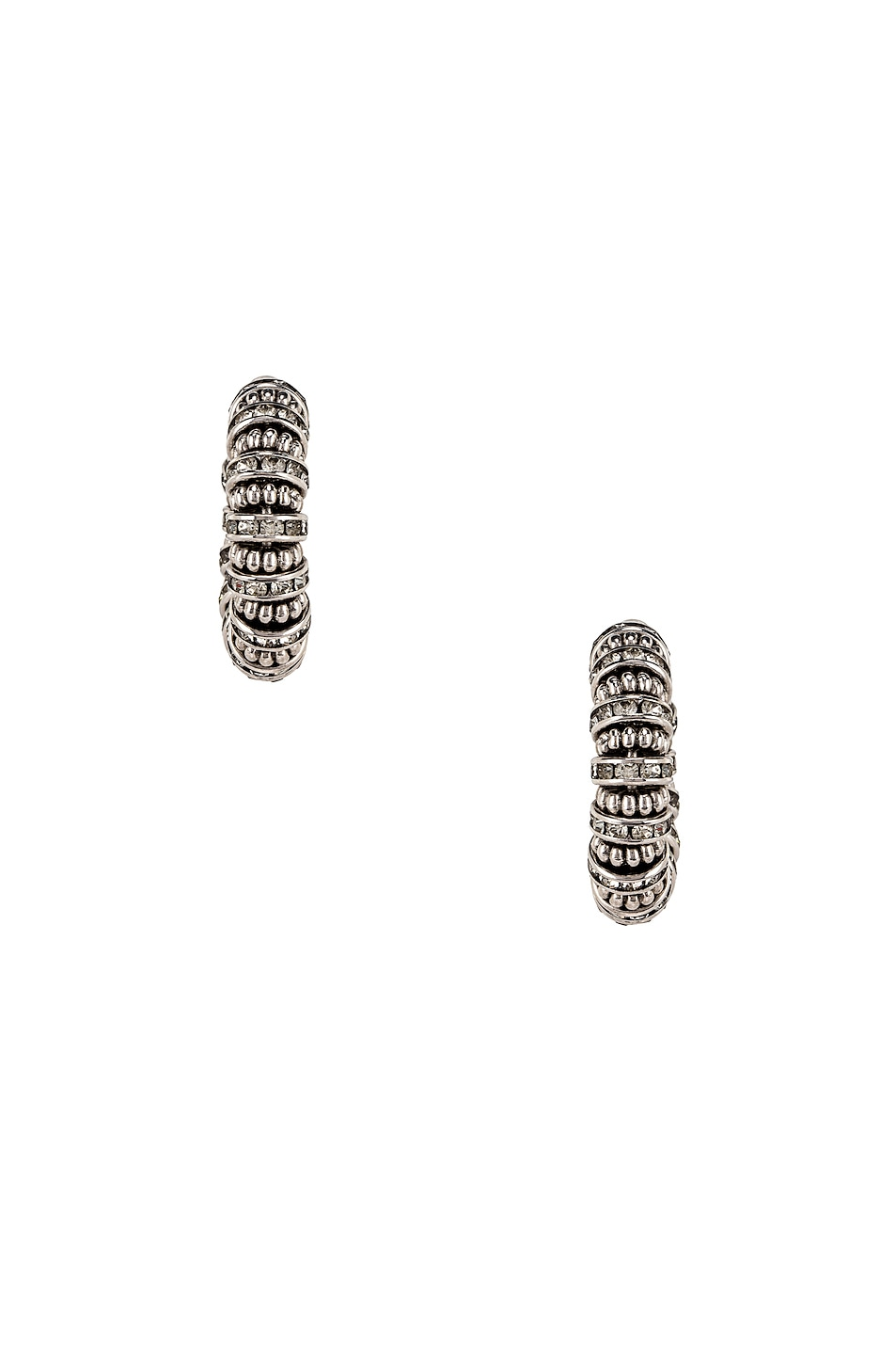 Image 3 of Saint Laurent Embellished Hoop Earrings in Palladium & Crystal
