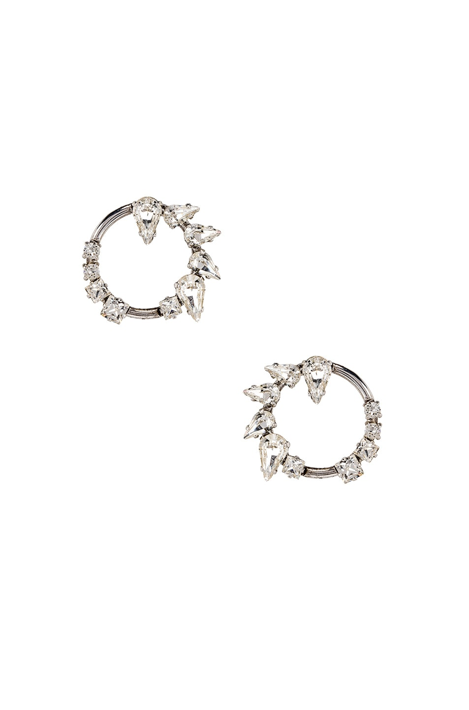 Image 1 of Saint Laurent Embellished Earrings in Palladium & Crystal